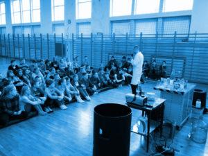 Pokazy eksperymentów naukowych w szkole.